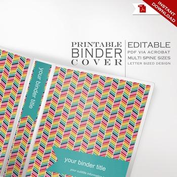 Binder Cover - Printable Editable Rainbow Chevron Theme - Multiple Spine Sizes