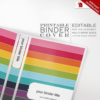 Binder Cover - Printable Editable Rainbow Theme - Multiple Spine Sizes
