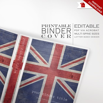 Binder Cover - Printable Editable Union Jack British Theme - Multi Spine Sizes