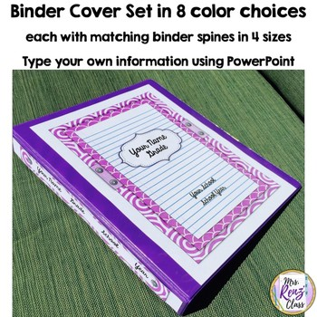 Binder Covers and Spines in 8 Colors Editable in PPT