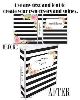 Binder Cover Set of 4 Editable Floral Theme for Teacher Binders, Portfolios