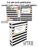 Binder Cover Set of 4 Editable Floral Theme for Teacher Bi