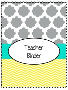 Binder Cover Sheets Teal, Grey, and Yellow Chevron