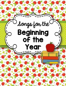 "Binder Cover: ""Songs for the Beginning of the School Year! FREEBIE!"