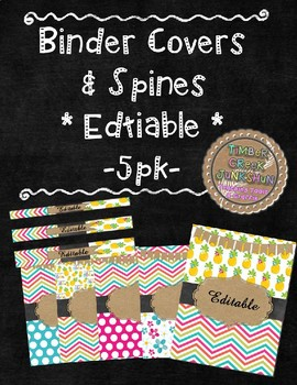 Binder Cover & Spines  *EDITABLE* -5 pk-  'Aloha Brights'