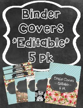 Binder Cover & Spines  *EDITABLE* 'Blue-z Blooms'