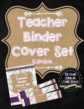 Binder Cover & Spines  *EDITABLE*  'Boho Burlap'