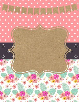 Binder Cover & Spines  *EDITABLE*  'Pinky Dot Beach'