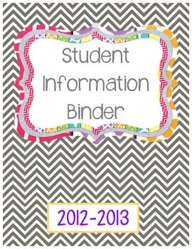 Binder Cover- Student Information FREEBIE