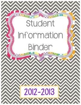 Binder Cover- Student Information FREEBIE