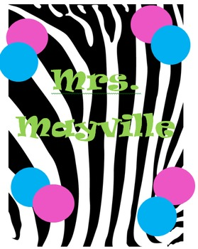 Zebra & Dots Binder Cover  (EDITABLE)