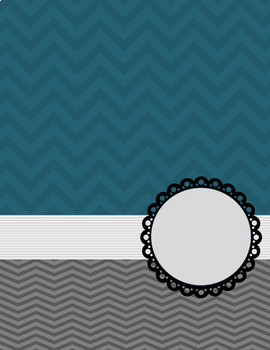 Binder Cover and Spine- Blue and Gray Chevron