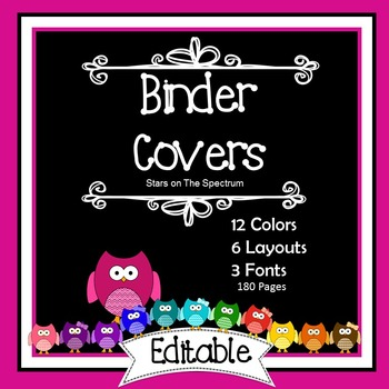 Editable Binder Covers and Spines - Owl Theme