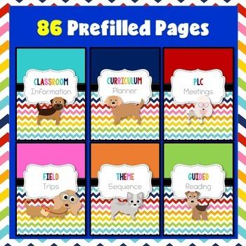 Dog Theme Teacher Binder Covers (Editable)