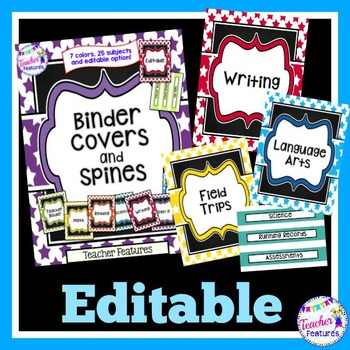 Editable Binder Covers (Multi-colored)