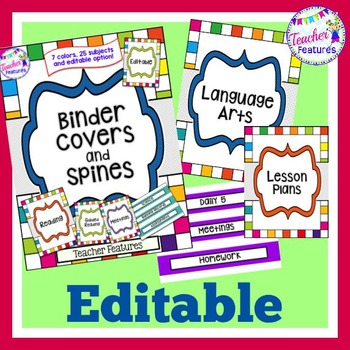 Editable Binder Covers and Spines BRIGHT COLORS