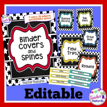 Editable Binder Covers (Stars)