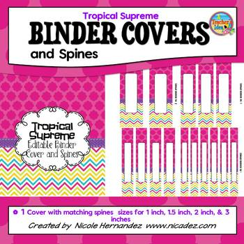 Binder Covers {EDITABLE Stylish Tropical Supreme}