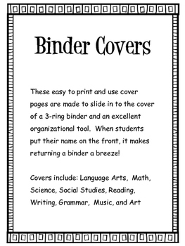 Organizational Binder Covers Pages