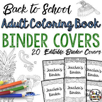Binder Covers: Adult Coloring Book Style EDITABLE