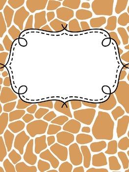 Binder Covers ~ Animal Print ~ Editable