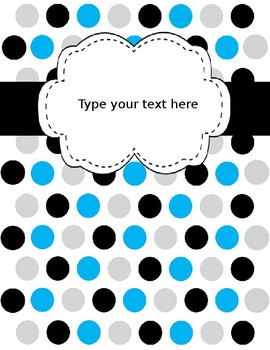 Editable Binder Covers Blank with Multi Colors Polka Dots (Power Point)