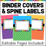 EDITABLE Binder Covers & Spine Labels - Brights & Black