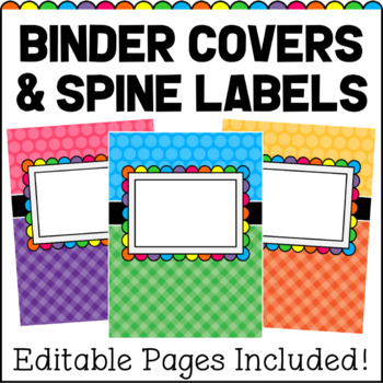 editable binder covers and spine labels teaching resources