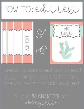 Binder Covers- Cactus- Editable!