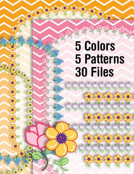 Binder Covers - Chevrons & Flowers Backgrounds – 30pp PDF – 300 DPI PNG Clip Art