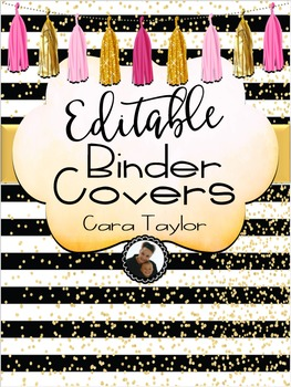 Binder Covers Dusty Rose and Gold ~ Editable!