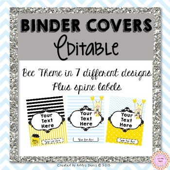 Binder Covers EDITABLE Bee Theme