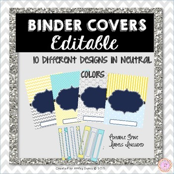 Binder Covers EDITABLE Neutral Colors