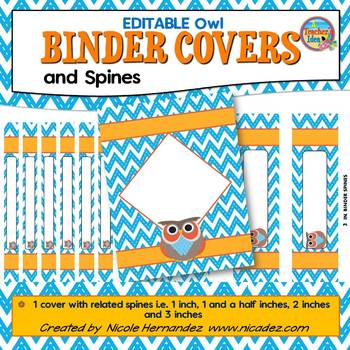 Binder Covers {EDITABLE Orange and blue Owl}