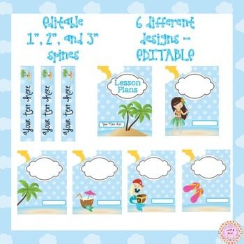 Binder Covers EDITABLE Tropical Theme