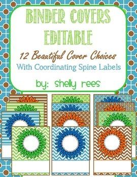 Teacher Binder Covers - 12 Editable Covers