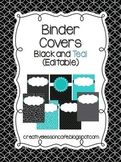 Binder Covers {Editable} Black and Teal