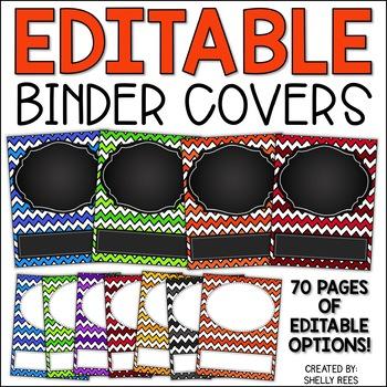 Teacher Binder Covers - Editable - Chevron and Chalkboard