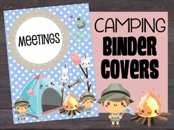 Binder Covers - Editable (Cute Camping Theme), Camp, Woods, Campers