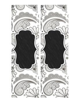 Binder Covers Editable Shades of Grey Chalkboard