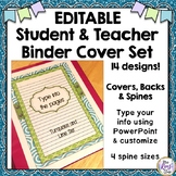 Editable Binder Covers in PPT (Turquoise & Lime Green Set)