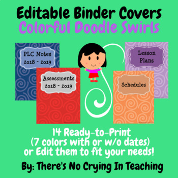 Binder Covers (Editable) Doodle Swirls