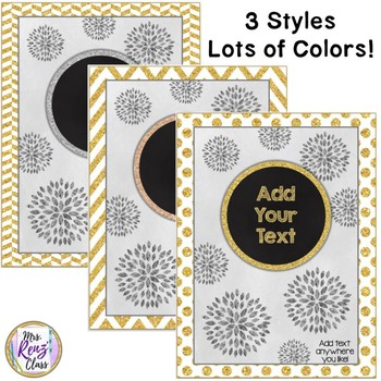 Gold Binder Covers, Backs and Spines EDITABLE in PPT