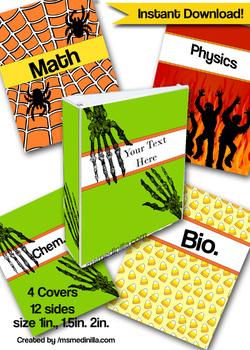 Binder Covers Halloween Student. Teacher Editable Printable Set of 4 PowerPoint