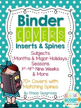 Editable Binder Covers, Inserts, and Spines Organization in Turquoise Dots