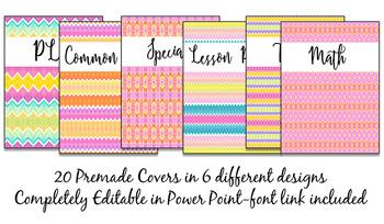 Binder Covers Pack Watercolor Stripes {Editable}