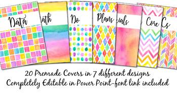 Binder Covers Pack Watercolor {Editable}