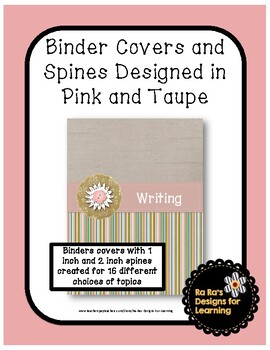Binder Covers Pink and Taupe