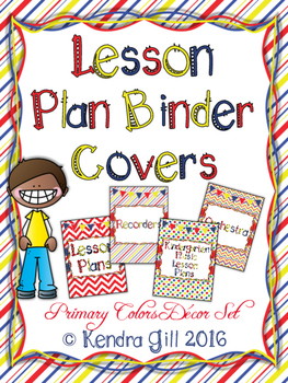 Music Binder Covers - Primary Color Themed