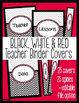 Binder Covers - Black White Red Chevron Editable